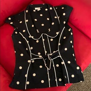 Loft black and white dots blouse